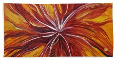 Abstract Orange Flower Hand Towel