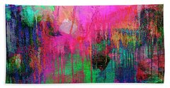 Abstract Painting 621 Pink Green Orange Blue Bath Towel