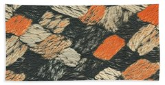 Abstract Pattern Black And Orange Bath Towel