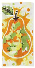 Bath Towel featuring the painting Abstract Pear by Kathleen Sartoris