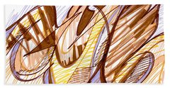 Abstract Pen Drawing Nine Bath Towel
