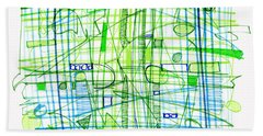Abstract Pen Drawing Two Bath Towel by Lynne Taetzsch