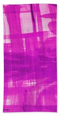 Abstract Pink And Purple Bath Towel by Tom Janca