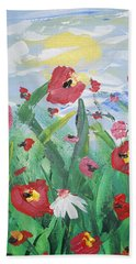 Abstract Poppies No 1 Hand Towel by Adam Asar