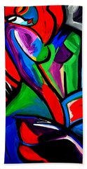 Abstract  Rain Bow Girl Bath Towel by Nora Shepley