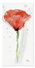Abstract Red Poppy Watercolor Hand Towel