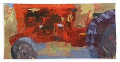 Abstract Red Tractor Hand Towel