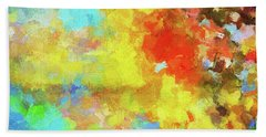Hand Towel featuring the painting Abstract Seascape Painting With Vivid Colors by Ayse Deniz