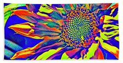 Abstract Sunflower Fantasy Bath Towel