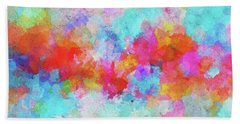 Hand Towel featuring the painting Abstract Sunset Painting With Colorful Clouds Over The Ocean by Ayse Deniz