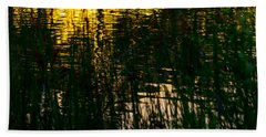 Abstract Sunset Reflection Hand Towel by Derek Dean