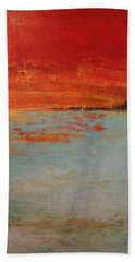 Abstract Teal Gold Red Landscape Hand Towel