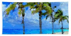 Abstract Tropical Palm Beach Hand Towel by Anthony Fishburne
