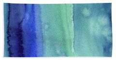 Abstract Vertical Watercolor Aqua Stripes Hand Towel
