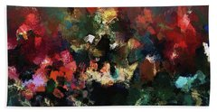 Hand Towel featuring the painting Abstract Wall Art In Dark Colors by Ayse Deniz