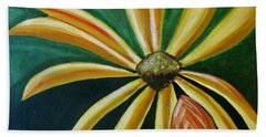 Abstract Yellow Sunflower Art Floral Painting Bath Towel