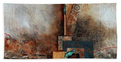 Hand Towel featuring the painting Abstract With Stud Edge by Joanne Smoley