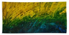 Abstract Yellow, Green With Dark Blue.   Bath Towel
