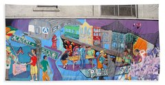 Academy Street Mural Bath Towel by Cole Thompson
