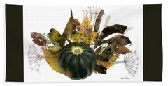 Hand Towel featuring the digital art Acorn Squash Bouquet by Lise Winne