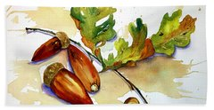 Acorns And Leaves Bath Towel