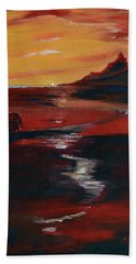 Across Amber Fields To The Sea Bath Towel by Donna Blackhall