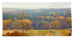 Across The River In Autumn Bath Towel
