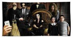 Addams Halloween Greeting Card Bath Towel by Alessandro Della Pietra