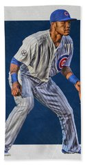 Addison Russell Chicago Cubs Art 2 Hand Towel by Joe Hamilton