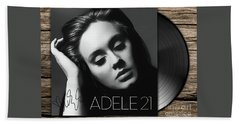 Adele 21 Art With Autograph Hand Towel by Kjc