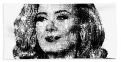 Adele Text Portrait - Typographic Face Poster With The Lyrics For The Song Hello Hand Towel by Jose Elias - Sofia Pereira