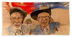 Hand Towel featuring the painting Adil Sahin And Len Hall by Ray Agius