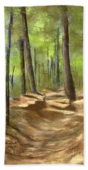 Bath Towel featuring the painting Adirondack Hiking Trails by Judy Filarecki