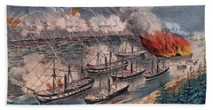 Admiral Farragut's Fleet Engaging The Rebel Batteries At Port Hudson Hand Towel