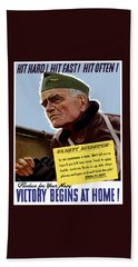 Admiral William Bull Halsey -- Ww2 Propaganda  Bath Towel