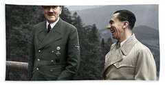 Adolf Hitler Joseph Goebbels Berghof Retreat  Number 2 Agfacolor Heinrich Hoffman Photo Circa 1942 Hand Towel