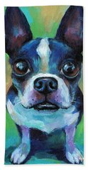 Adorable Boston Terrier Dog Hand Towel