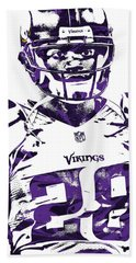Hand Towel featuring the mixed media Adrian Peterson Minnesota Vikings Pixel Art 2 by Joe Hamilton