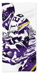 Hand Towel featuring the mixed media Adrian Peterson Minnesota Vikings Pixel Art by Joe Hamilton