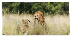 Adult Lion And Cub In The Masai Mara Hand Towel