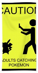 Hand Towel featuring the digital art Adults Catching Pokemon 1 by Shane Bechler