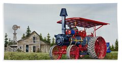 Hand Towel featuring the painting Advance Rumely Steam Traction Engine by James Williamson