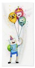 Adventure Time Finn With Birthday Balloons Jake Princess Bubblegum Bmo Bath Towel