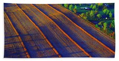 Aerial Farm Field Harvested At Sunset Hand Towel