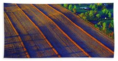 Aerial Farm Field Harvested At Sunset Bath Towel