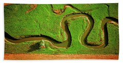 aerial, farm, stream, northern, Illinois, farms, meandering  Bath Towel