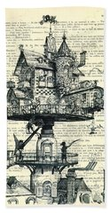 Aerial House Black And White Antique Illustration Bath Towel