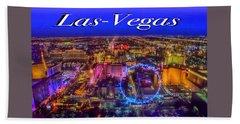Aerial Las- Vegas Evening Bath Towel