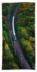 Aerial Of  Commuter Train  Hand Towel