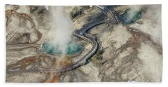 Aerial Photo Of Black Pool And Abyss Pool At West Thumb Gesyer Basin Hand Towel